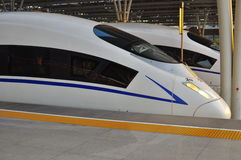 High Speed Train. Of China, the streamlined design of a modern bullet train in Shanghai and Hangzhou China Royalty Free Stock Photos