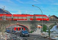 High-speed train crossing a bridge in Garmisch-Partenkirchen Stock Image