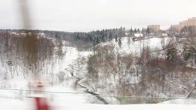 High-speed train crossing a bridge in Winter (POV) Royalty Free Stock Image