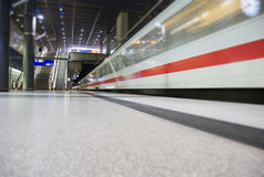 High speed train crossing station Royalty Free Stock Photos