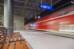 High speed train crossing station Royalty Free Stock Image