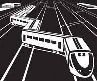 High speed train departs from a railway station stock illustration