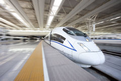 High speed train departure from station Stock Photography