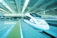 High speed train departure from station Stock Images