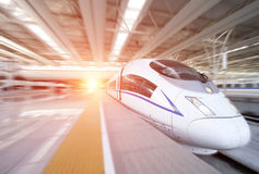 High speed train departure from station Royalty Free Stock Photo