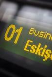 High-speed train destination board. Destination board indicates business class Stock Photos