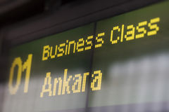 High-speed train destination board Stock Photography