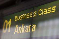 High-speed train destination board. Destination board indicates business class Stock Photography