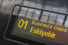 High speed train destination board. Destination board indicates business class Stock Image