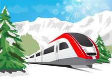 High speed train driving on background of snowy mountains Stock Photography
