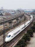 High-speed train,EMU(Electrical Multiple Unit). A China's high-speed passenger train running on railroad royalty free stock photo