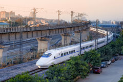 High-speed train,EMU(Electrical Multiple Unit). A China's high-speed passenger train running on railroad royalty free stock photography