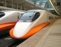 High Speed Train Engine. The streamlined design of a modern bullet train Royalty Free Stock Image