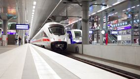 High-speed train goes from a platform at the Central station in Berlin. Germany stock footage