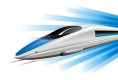 High-speed train on hovercraft. Vector illustration Stock Photos