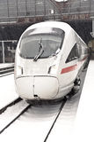 High Speed Train In Station In Wintertime Stock Photography
