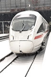 High Speed Train In Station In Wintertime Stock Image
