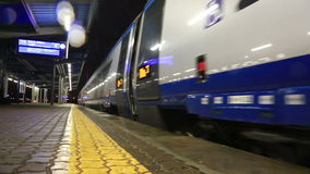 High-speed train. Leaves from the station in Warsaw stock video