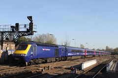 High Speed Train leaving Oxford railway station Stock Image