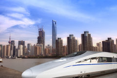 High speed train with lujiazui background Stock Photography