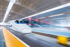 High speed train in modern railway station Royalty Free Stock Photos