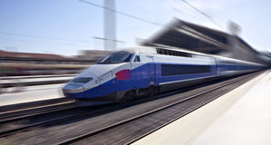 High-speed train in motion Royalty Free Stock Photos