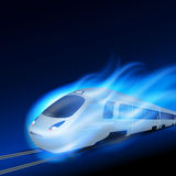High-speed train in motion blue flame at night. Stock Photography