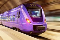 High speed train with motion blur. Modern high speed train with motion blur effect at the railway station Royalty Free Stock Image