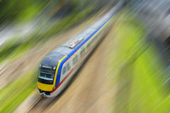 High speed train. With motion blur background royalty free stock photography