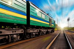 High speed train with motion blur effect Stock Photo