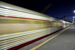High-speed train with motion blur outdoor (against the sky) Stock Photo