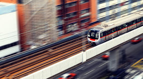 High-speed train with motion blur outdoor. Stock Photo