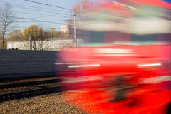 High speed train  in motion. Motion blurred train. Stock Image