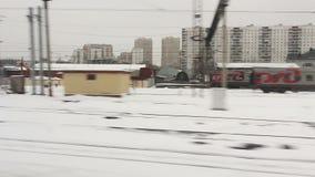 High-speed train moving through the city (POV) Stock Photo