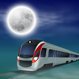 High-speed train at night with full moon. Stock Photo