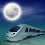 High-speed train at night with full moon. Stock Photography