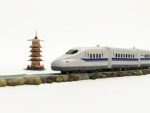 High speed train pass through five storied pagoda Royalty Free Stock Image