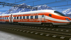 High speed train passing railway station. Wonderful scenery of high speed train passing railway station in high snowy mountains stock footage