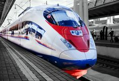 High-speed train on the platform of the station Stock Photo