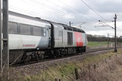 High speed train power car on East Coast Main Line Stock Image