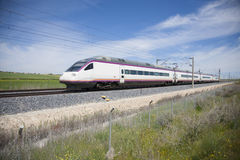 High speed train. Railway with high speed train at a landscape in Spain Royalty Free Stock Images