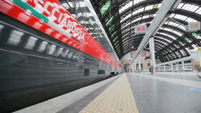 High-speed train at the railway station in Milan, Italy. High-speed train arrived at Milan Railway station. This type of trains on certain sections of the route stock footage