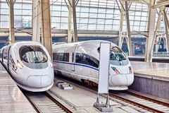 High speed train at the railways station. Royalty Free Stock Image