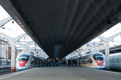 High speed train Sapsan departs from the railway Stock Image