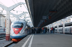 High speed train Sapsan departs from the railway Royalty Free Stock Photos