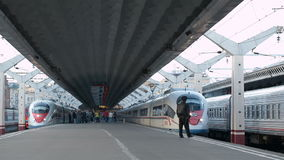 High speed train Sapsan departs from the railway station stock footage