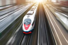 High-speed train Sapsan rides on the route Moscow-St. Petersburg. January 2018. royalty free stock photography