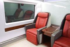 High-speed train seats. Comfortable seating in the high-speed train Stock Images