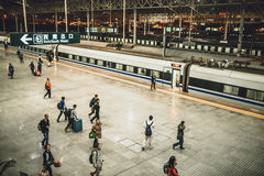 High speed train from Shanghai to Beijing. SHANGHAI, CHINA - MAY 08, 2016: China Train number D314 to Beijing South waiting for departure in Shanghai Hongqiao stock photo