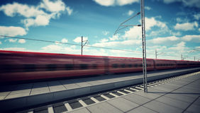 High Speed Train in the Station Stock Image